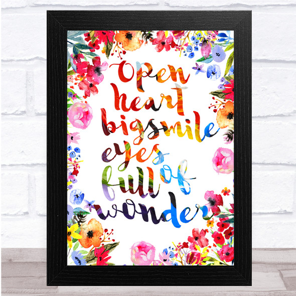 Open Heart Big Smile Beautiful Oil Painted Floral Quote Wall Art Print
