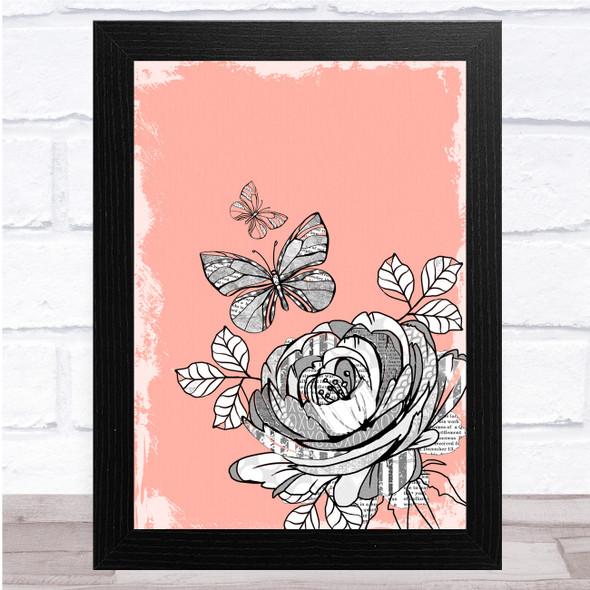 Vintage Flower & Butterflies Light Pink Distressed Wall Art Print