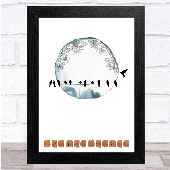 Birds On A Wire One In Flight Floral Moon Wall Art Print