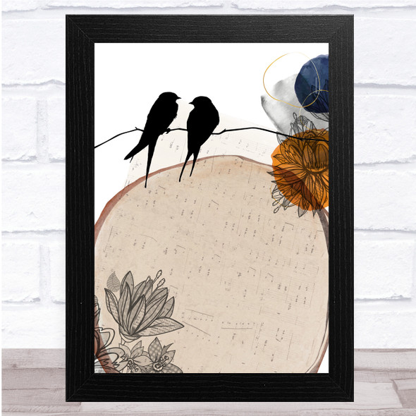 Birds On Wire Floral Music Large Beige Wall Art Print