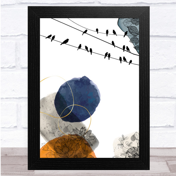 Birds On Wire Watercolour Navy And Orange Floral Wall Art Print