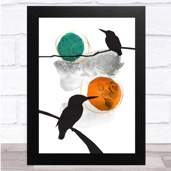 Birds Two Branches Floral Tones Teal & Orange Wall Art Print