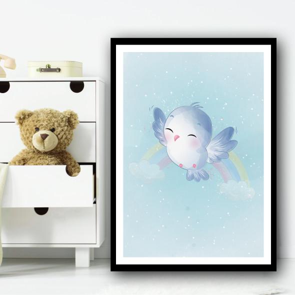 Cute Bird With Faded Rainbow Wall Art Print