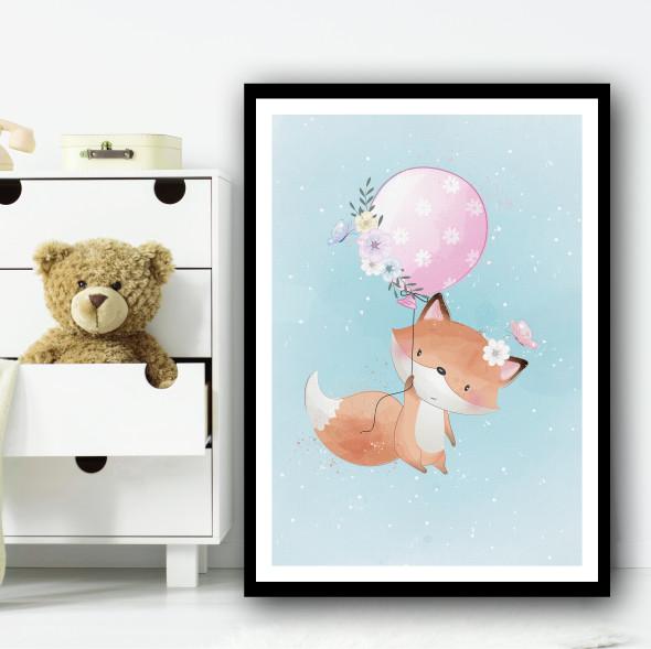 Cute Fox With Balloon Floral Pink Wall Art Print