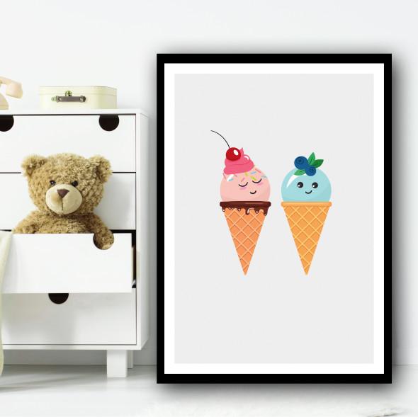 Cute Ice-cream Friend Eyes Closed Blue Wall Art Print