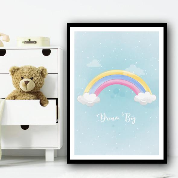 Cute Rainbow Pastel Clouds Dream Big Wall Art Print