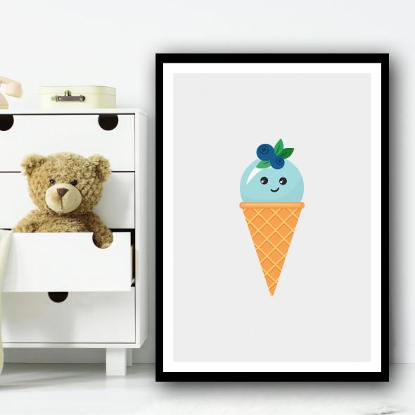 Blue Cute Ice-cream Cartoon Simple Wall Art Print
