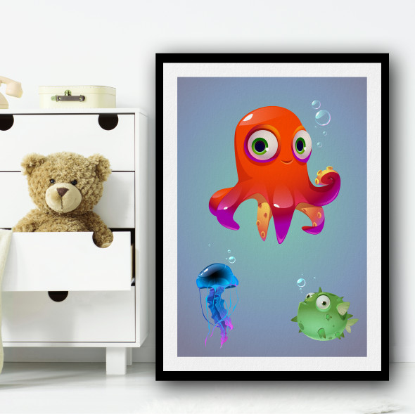 Octopus Fish And Friends Animation Wall Art Print