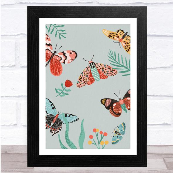 Butterflies Colourful Botanical Wall Art Print