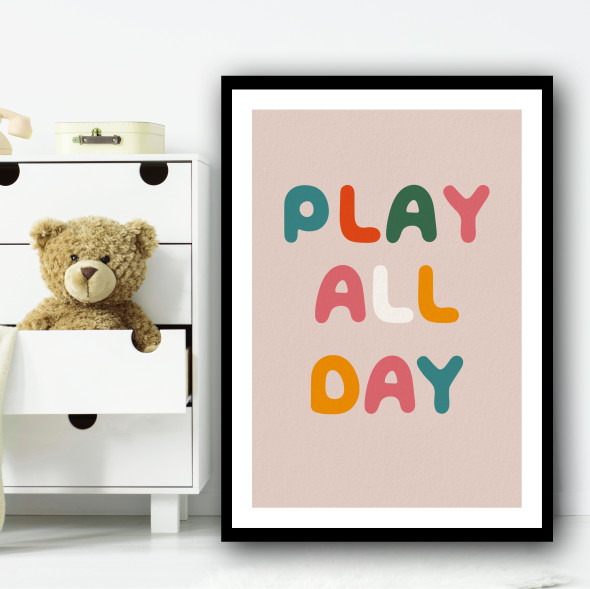 Play All Day Colourful Text Kids Wall Art Print