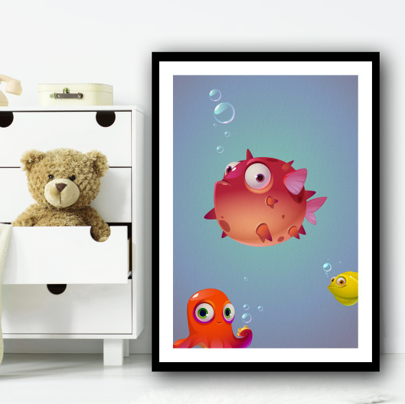 Puffer Fish And Friends Animation Puffer Wall Art Print