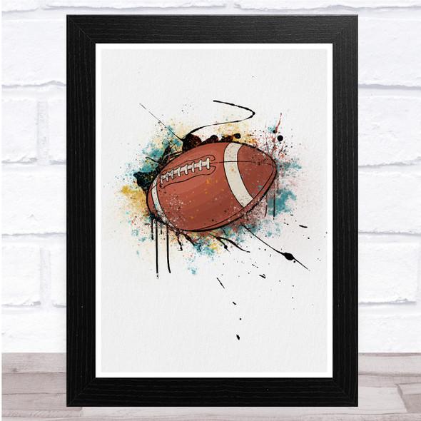 Rugby Ball Watercolour Splatter Wall Art Print