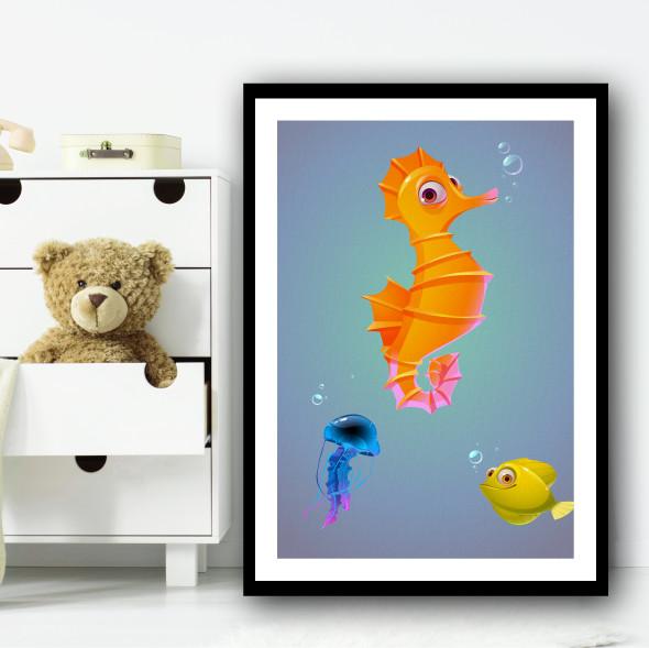 Seahorse Fish And Friends Wall Art Print