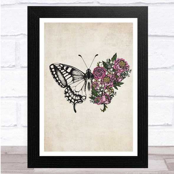 Vintage Butterfly With Flowers Grunge Wall Art Print