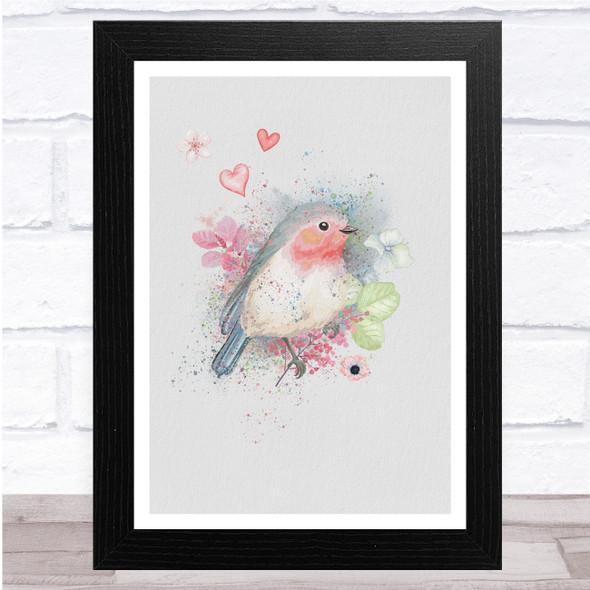 Watercolour Heats Floral Bird Fade Robin Wall Art Print