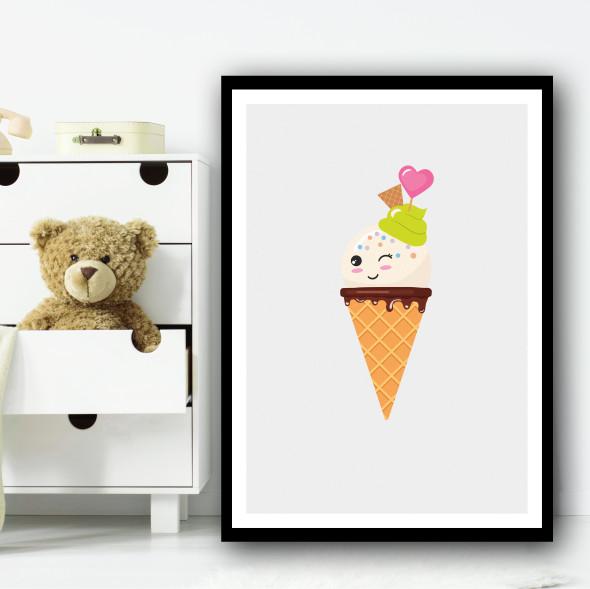 White Cute Ice-cream Cartoon Simple Winking Wall Art Print