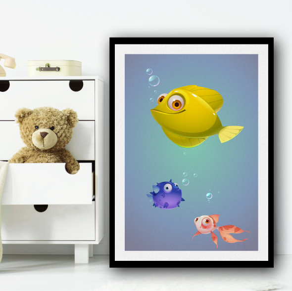 Yellow Fish And Friends Animation Wall Art Print