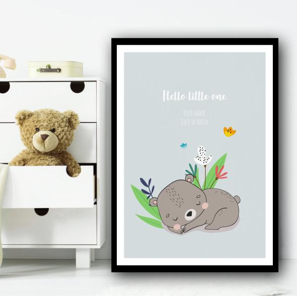 Hello Little One Cute Bear Sleeping Floral Personalised Wall Art Print