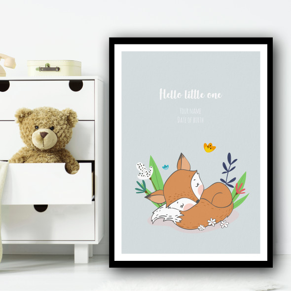 Hello Little One Cute Fox Sleeping Floral Personalised Wall Art Print