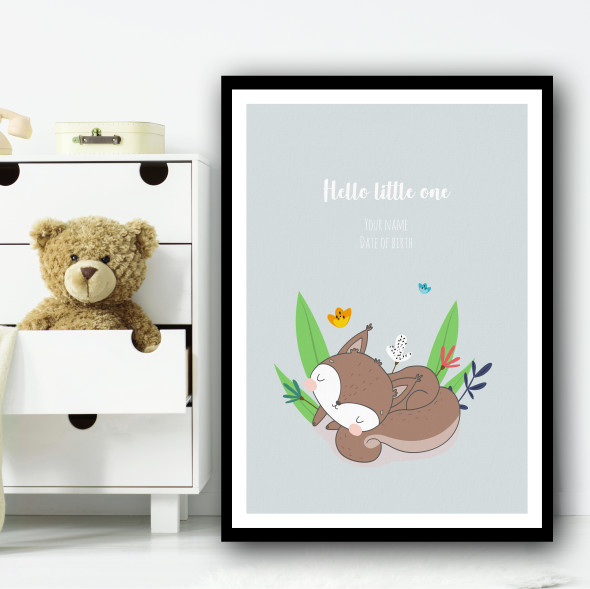 Hello Little One Cute Red Fox Sleeping Floral Personalised Wall Art Print