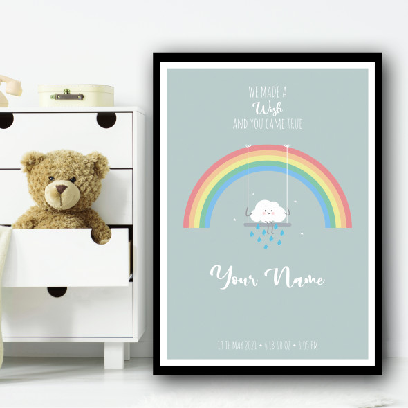 We Made A Wish Cute Rainbow Cloud And Rain On Swing Personalised Wall Art Print