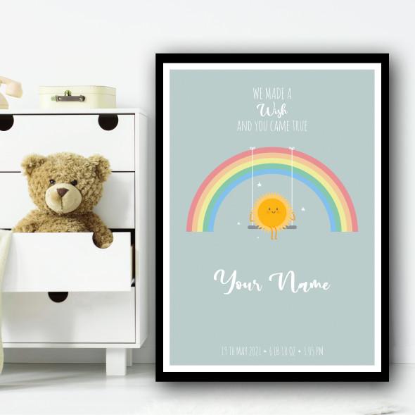 We Made A Wish Cute Rainbow Sun On Swing Personalised Wall Art Print