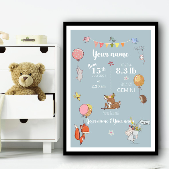 Cute Animals With Balloons Light Colours Personalised Wall Art Print