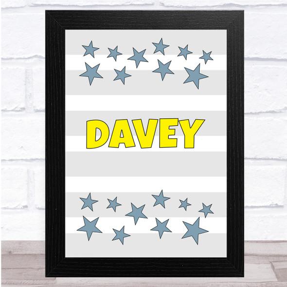 Grey Stripes Stars Yellow Any Name Personalised Wall Art Print