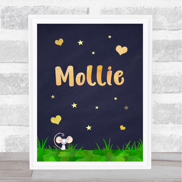 Little Mouse Blue Chalk Gold Stars And Hearts Personalised Wall Art Print