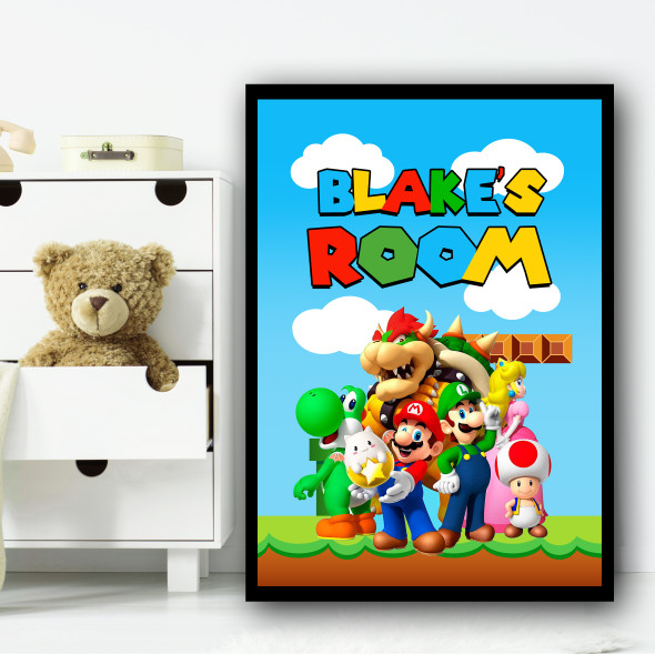 Mario Characters Any Name Personalised Wall Art Print