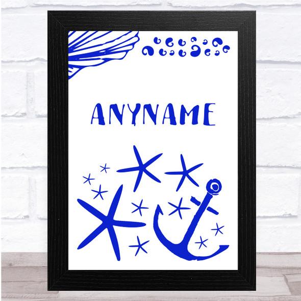 Nautical Royal Blue Any Name Personalised Wall Art Print