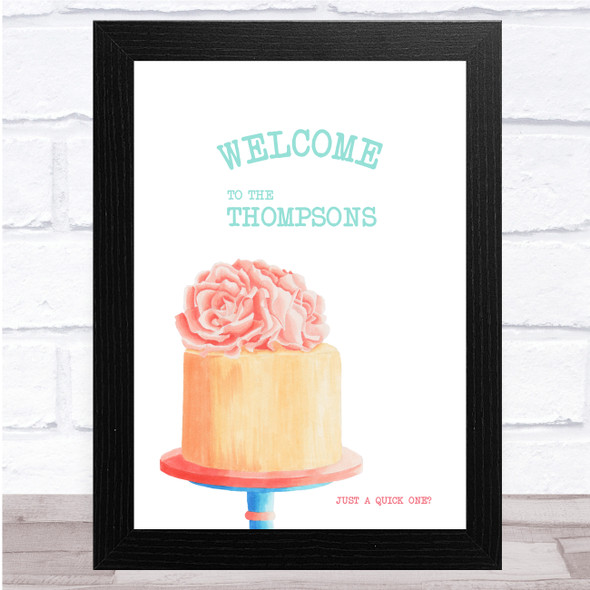 Peach Cake Floral On Stand Welcome Any Name Personalised Wall Art Print