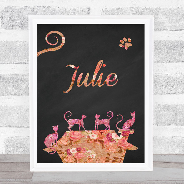 Pink Floral Chalk Multiple Cats Any Name Personalised Wall Art Print
