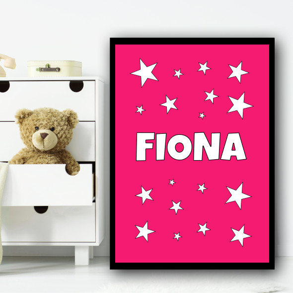 Pink Star Cluster Pink Name Personalised Wall Art Print