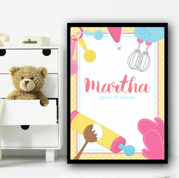 Pink Yellow Queen Of Baking Any Name Personalised Wall Art Print