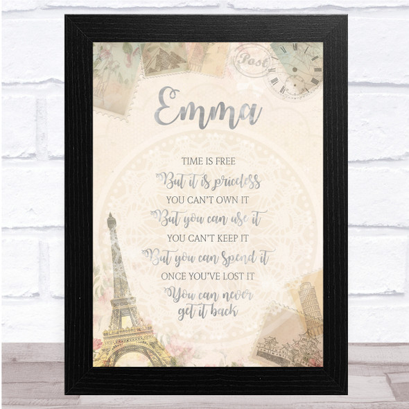Shabby Chic Parisian Message Time Travels Any Name Personalised Wall Art Print