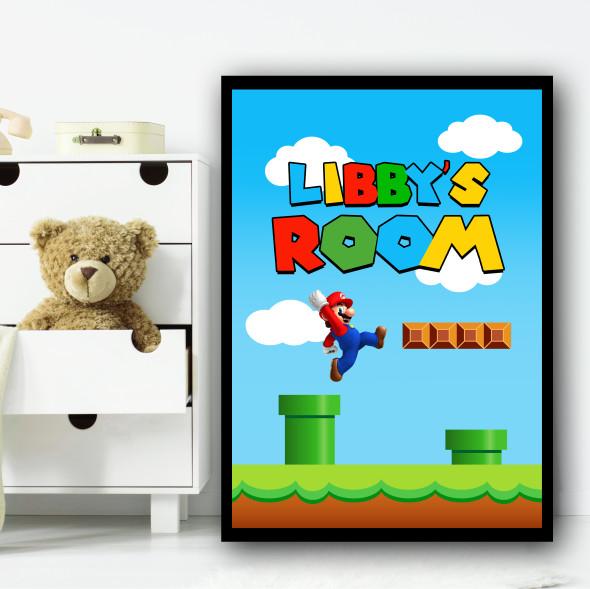 Super Mario Gaming Green Tubes Any Name Personalised Wall Art Print
