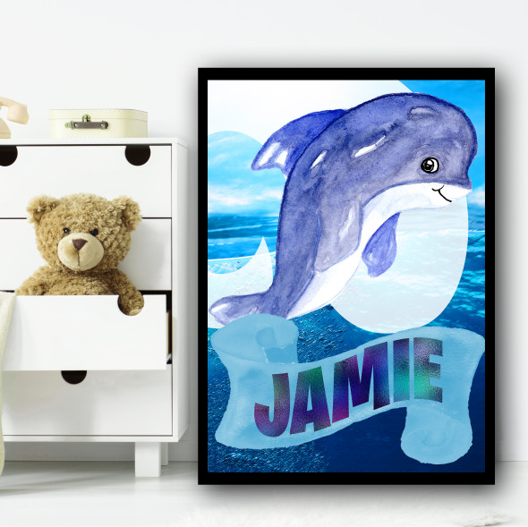 Under The Sea Dolphin Any Name Personalised Wall Art Print
