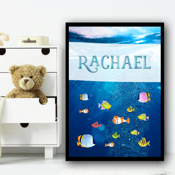 Under The Sea Multiple Fish Any Name Personalised Wall Art Print