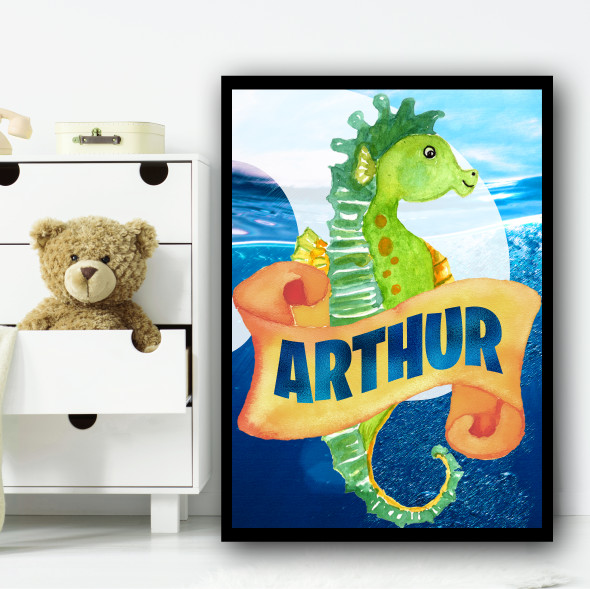 Water Colour Green Seahorse Any Name Personalised Wall Art Print