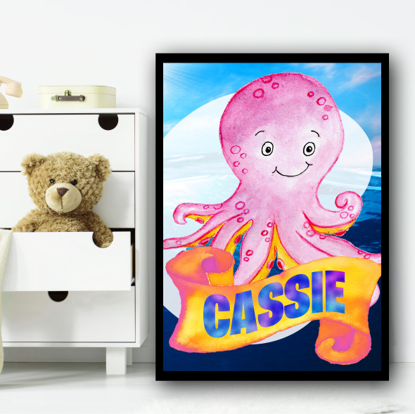 Water Colour Pink Octopus Any Name Personalised Wall Art Print