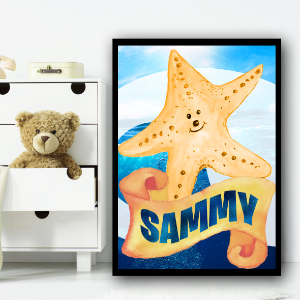Water Colour Yellow Starfish Any Name Personalised Wall Art Print