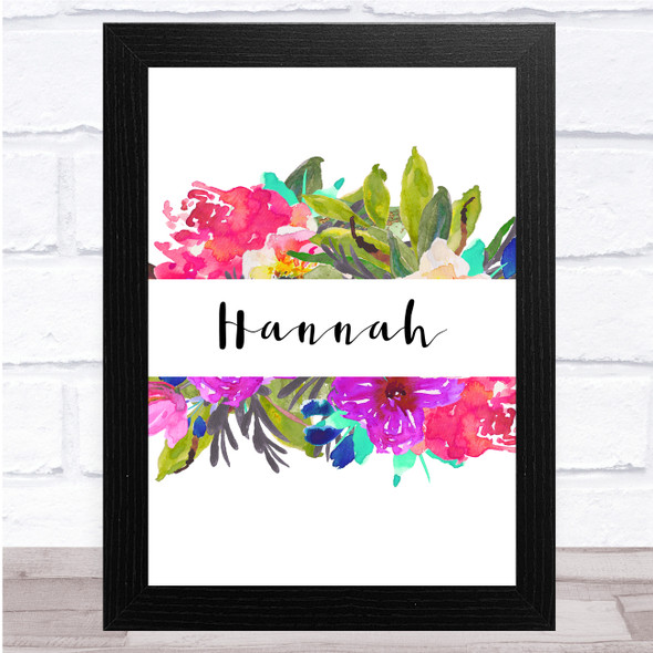 Watercolour Floral Painting Any Name Personalised Wall Art Print