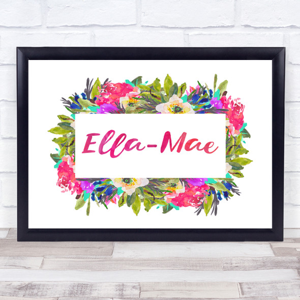 Watercolour Floral Painting Landscape Any Name Personalised Wall Art Print