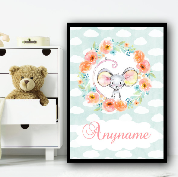 Watercolour Mouse Floral Wreath Any Name Personalised Wall Art Print
