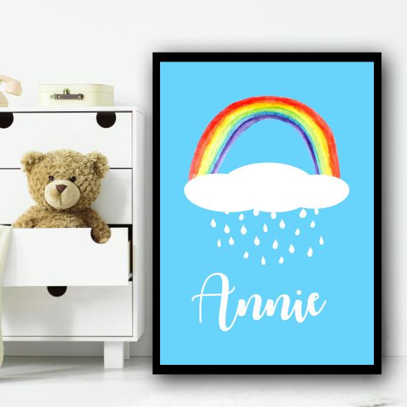 Watercolour Rainbow Cloud Rains Any Name Personalised Wall Art Print