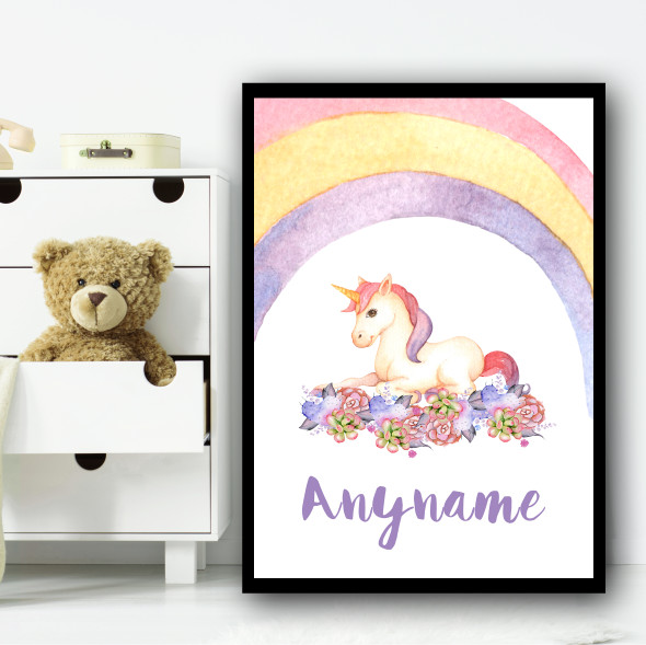 Watercolour Rainbow Purple Floral Unicorn Any Name Personalised Wall Art Print