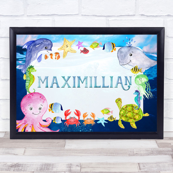 Watercolour Sea Creatures Landscape Any Name Personalised Wall Art Print