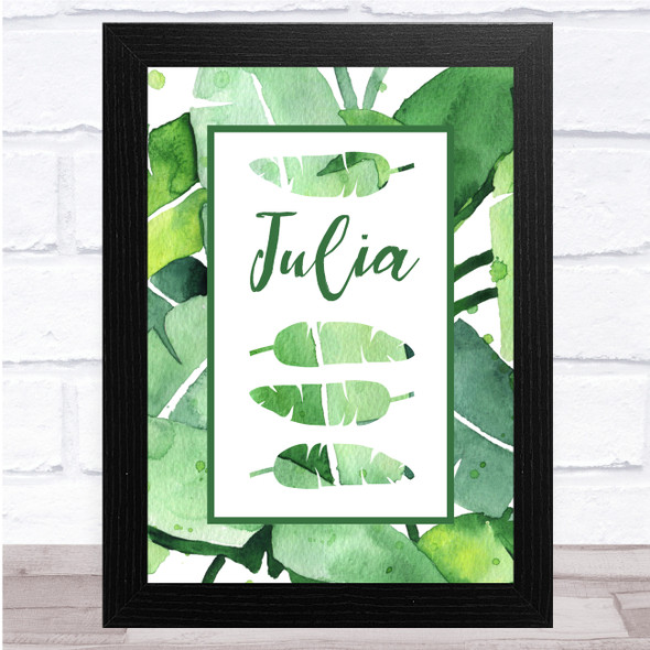 Beautiful Watercolour Tropical Leaf Any Name Personalised Wall Art Print