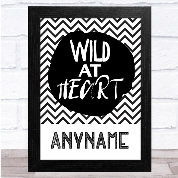 Black & White Wild At Heart Zig Zags Any Name Personalised Wall Art Print